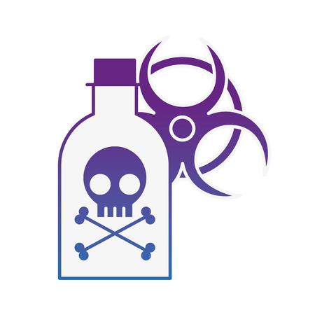 poison bottle hazard danger radiation sign vector illustration neon image Illustration