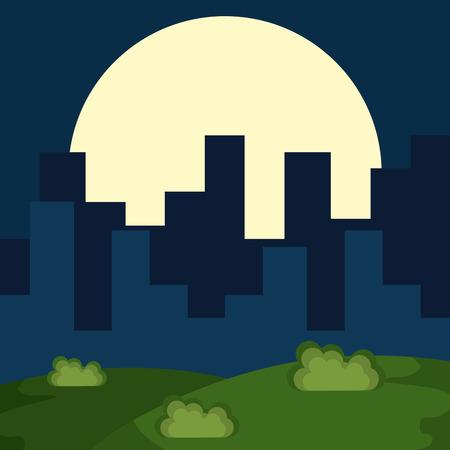 cityscape at night scene vector illustration design