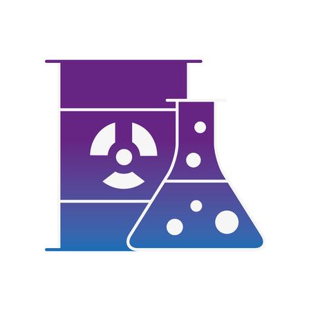chemistry hazard test tube barrel radiation vector illustration neon image