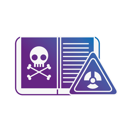 biology book poison danger hazard sign vector illustration neon image Ilustracja