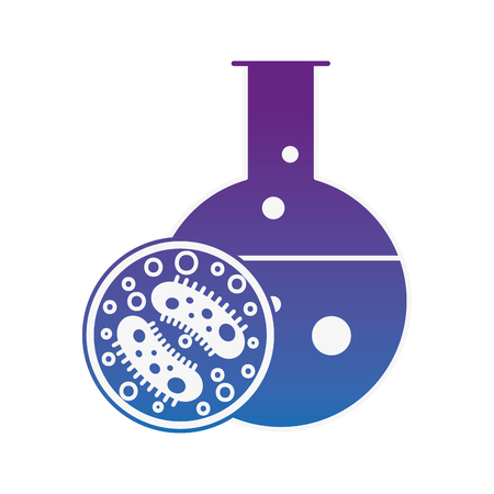 laboratory science test tube bacteria petri dish vector illustration neon image