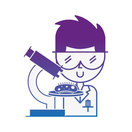 scientific man professor microscope bacteria research vector illustration neon image