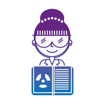 science scientist woman with glasses and radiation hazard book vector illustration neon image Illustration