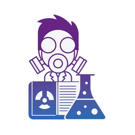 scientific man professor with mask radiation test tube vector illustration neon image Banque d'images - 109992318