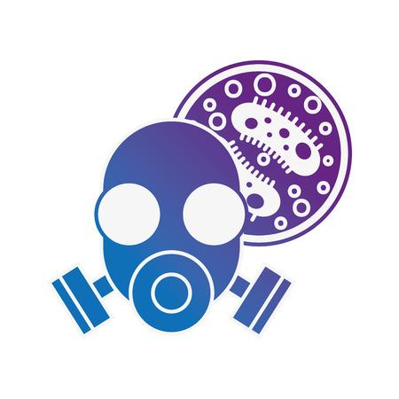 respirator mask virus infection danger chemistry laboratory vector illustration neon image