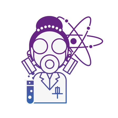 scientific woman wearing mask protection molecule chemistry laboratory vector illustration neon image