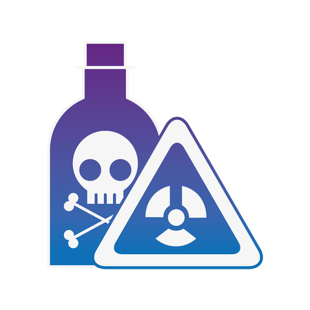 bottiglia veleno laboratorio pericolo bordo laboratorio di chimica illustrazione vettoriale neon Vettoriali
