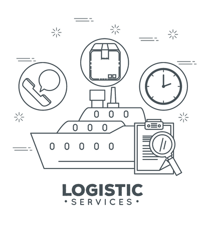 logistic services with ship cargo vector illustration design Illustration