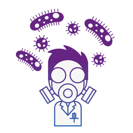 scientific man with mask and bacteries chemistry laboratory vector illustration neon