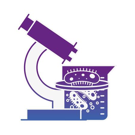microscope flask bacteries chemistry laboratory vector illustration neon