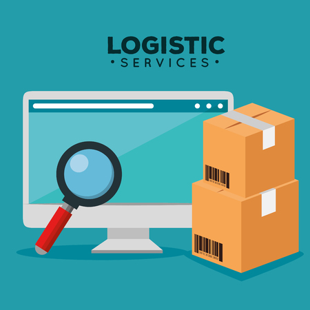logistic services with computer vector illustration design Stock Vector - 109992343