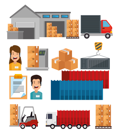 logistic services set icons vector illustration design Stock Vector - 109992344