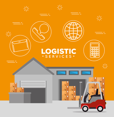 logistic services with warehouse building vector illustration design