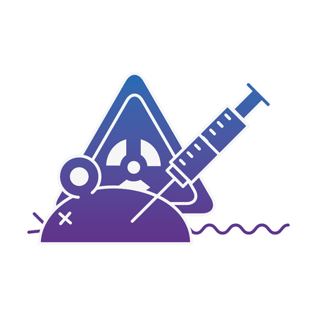experiment rat laboratory syringe hazard danger vector illustration neon image