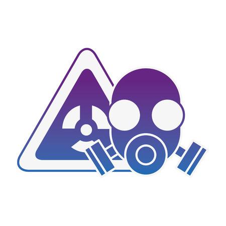 respirator mask protection danger radiation vector illustration neon image