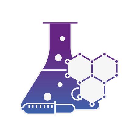 laboratory test tube sample dropper molecule structure vector illustration neon image