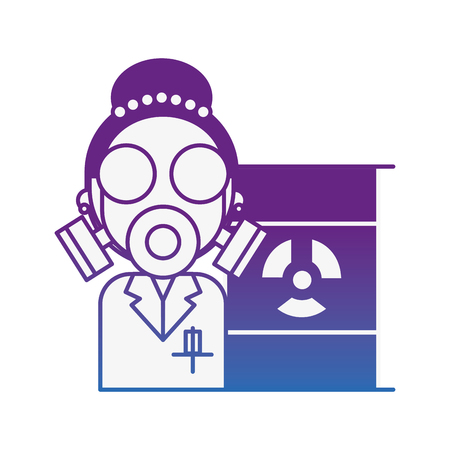 scientific woman with protection mask radiation barrel hazard vector illustration neon image