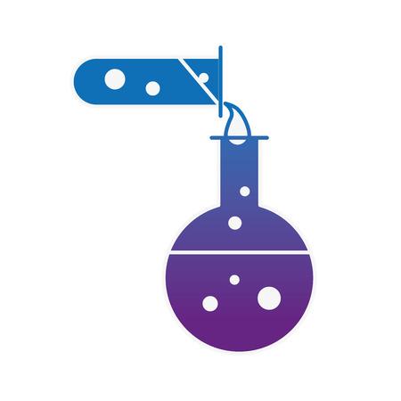 biology test tube pouring flask chemistry equipment vector illustration neon image
