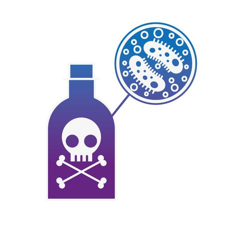 poison bottle danger bacteria virus infection vector illustration neon image