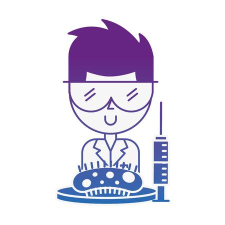scientific man professor syringe and bacteria germ vector illustration neon image Illustration