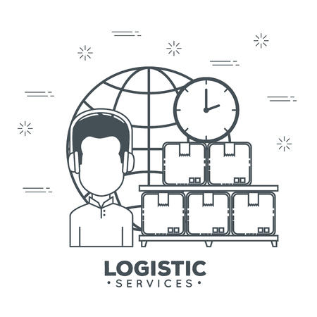 logistic services with support agent vector illustration design