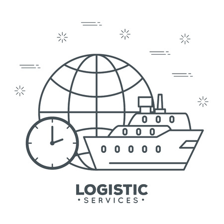 logistic services with sphere planet vector illustration design