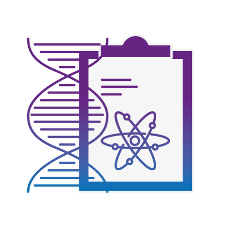 chemistry clipboard dna atom molecule structure vector illustration neon image Illustration