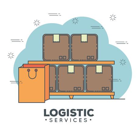logistic services set icons vector illustration design