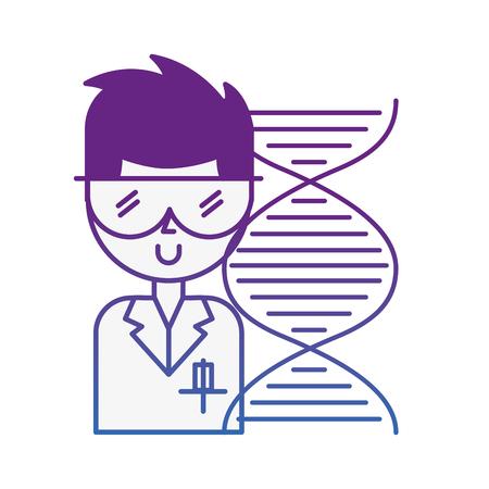 Homme scientifique avec des lunettes ADN molécule chimie laboratoire vector illustration néon
