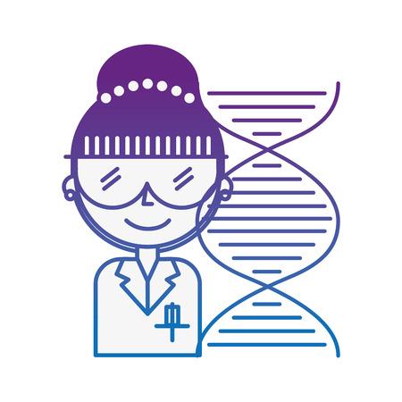 donna scientifica con occhiali dna molecola chimica illustrazione vettoriale neon Vettoriali