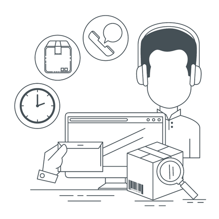 logistic services with support agent and computer vector illustration Stock Vector - 109992398