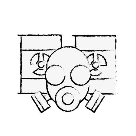 respirator protective mask and hazard barrels vector illustration hand drawing