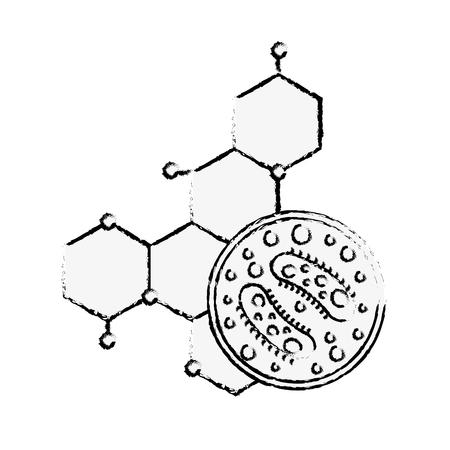 science laboratory petri dish bacteria molecule vector illustration hand drawing
