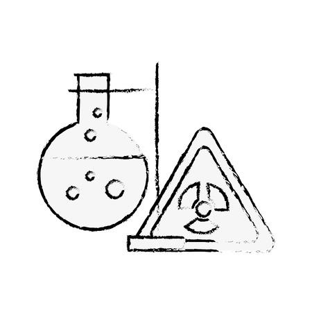 chemistry hazard sign test tube laboratory vector illustration hand drawing