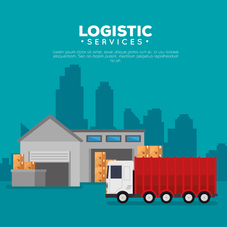 logistic services with warehouse building vector illustration design Stock Vector - 109992405