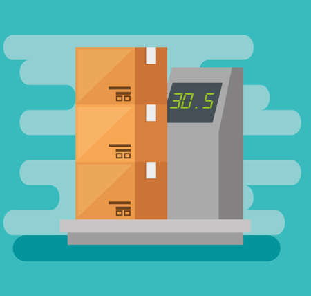 logistic services with boxes and balance vector illustration design