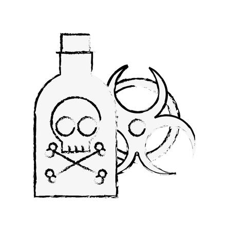 Botella de veneno peligro peligro signo de radiación ilustración vectorial dibujo a mano