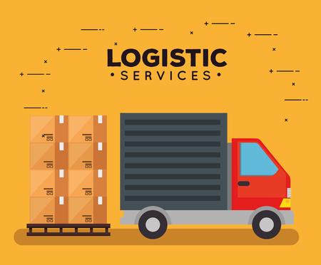 servizi logistici con disegno di illustrazione vettoriale di camion