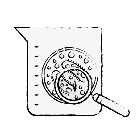 laboratory flask test science bacteria magnifying glass vector illustration hand drawing