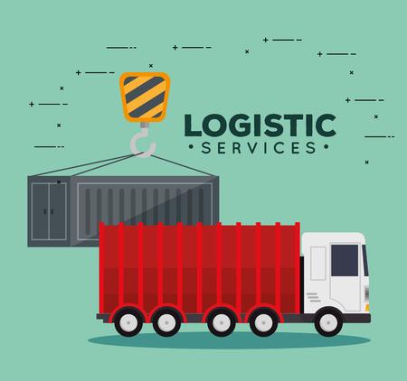 logistic services with truck vector illustration design Ilustração