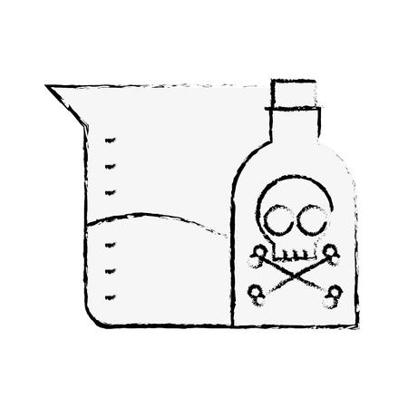poison bottle test tube sample science vector illustration hand drawing Stock Illustratie