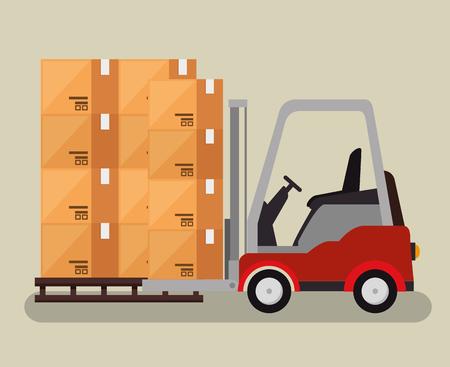 logistic services with forklift vector illustration design Illustration