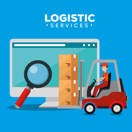 logistic services with computer vector illustration design Stock Vector - 109992424