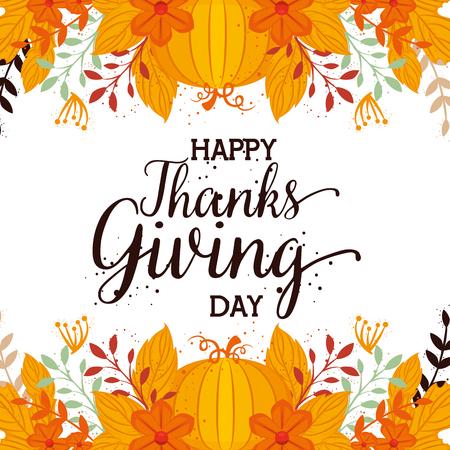 happy thanks giving card with pumpkin vector illustration design Stock Illustratie