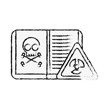 biology book poison danger hazard sign vector illustration hand drawing