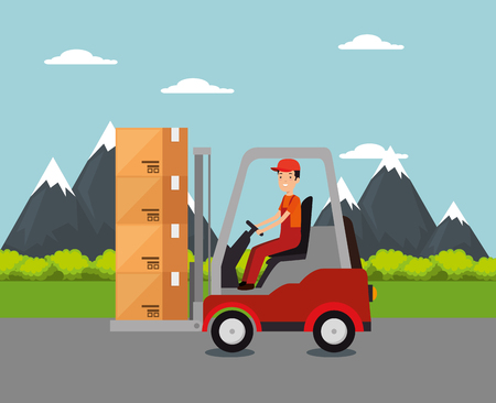 logistic services with forklift and worker vector illustration design Stock Vector - 109992432