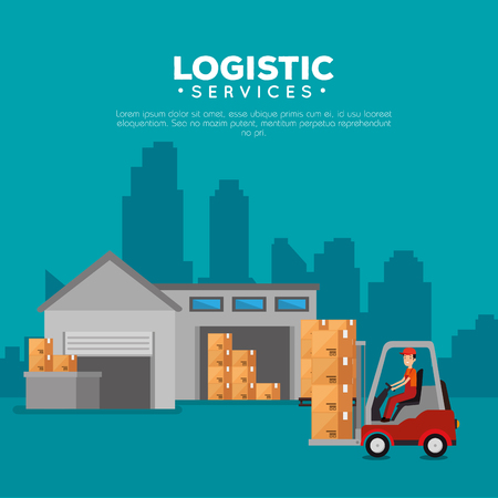 logistic services with forklift and worker vector illustration design Stock Vector - 108263649