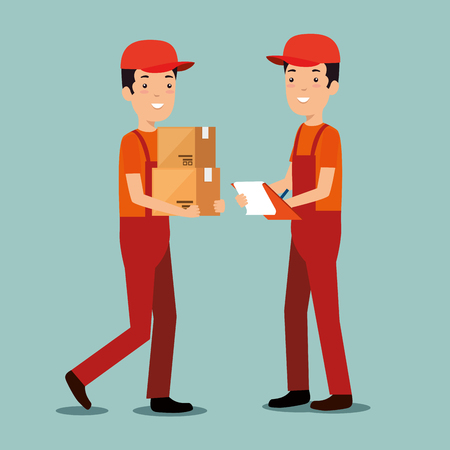 logistic services with team delivery workers vector illustration design