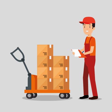 logistic services with delivery worker vector illustration design Illustration