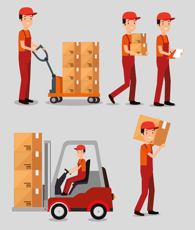 logistic services with team delivery workers vector illustration design Stock Vector - 109992439